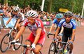 Tour de france in london uk – july cyclists arrive at the mall approaching the finish line of the third stage of the Royalty Free Stock Photo