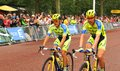 Tour de france in london uk – july two cyclists representing the tinkoff saxo team arrive at the mall approaching the finish Royalty Free Stock Photos