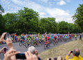 Tour de france passing through woodford london on th july cambridge to london leg Royalty Free Stock Photo