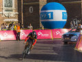 Tour de pologne each year in poland is a bicycle race the end of this race is always in krakow meta on the main market today is Stock Photography