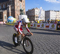 Tour de pologne each year in poland is a bicycle race the end of this race is always in krakow meta on the main market today is Royalty Free Stock Images