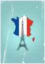 Tour eiffel paris illustration of with france shape Royalty Free Stock Photography