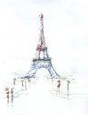Tour Eiffel romantic illustration  drawing water color paints and crayons, crayon, paint drops Royalty Free Stock Photo