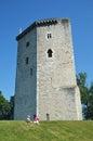 Tour moncade pentagonal tower medieval castle built gaston phoebus orthez Stock Image