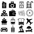 Tour vector icons set. travel illustration symbol collection. Contains such icon as ticket, transport, beach, compass, passport.
