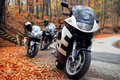 Touring Motorcycle Blue white parked Forest Road Royalty Free Stock Photo