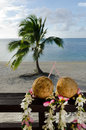 Tourism in aitutaki lagoon cook islands two coconuts with straws on bungalow balcony during vacation Royalty Free Stock Image