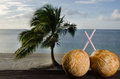 Tourism in aitutaki lagoon cook islands two coconuts with straws on bungalow balcony during vacation Royalty Free Stock Photo