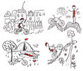 Tourism bycicle doodle sketches Stock Images