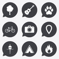 Tourism, camping icons. Fishing, fire and bike. Royalty Free Stock Photo