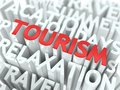 Tourism concept word red color located over text white color Stock Photo