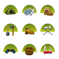 Tourism equipment icon set illustrations of Stock Image