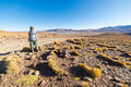 Tourism on the expansive andean highlands southern bolivia tourist walking desert of andes roadtrip to famous uyuni salt flat Royalty Free Stock Photography