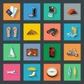 Tourism flat icons set graphic illustration Royalty Free Stock Images