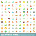 100 tourism icons set, cartoon style