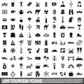 100 tourism icons set, simple style
