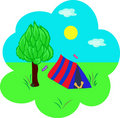 Tourism, tent under a tree Royalty Free Stock Image