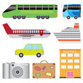 Tourism transport set. Royalty Free Stock Images