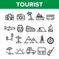 Tourism And Travel Around World Vector Linear Icons Set