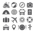 Tourism and travel icons on white background Royalty Free Stock Photography