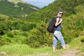 Tourism. young woman hiking in the mountains Royalty Free Stock Photography