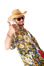 Tourist approved a young attractive male in a colorful outfit ready to travel as a stereotype Stock Images