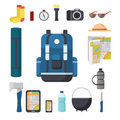 Tourist backpack. Great marching backpack with a set of tourist things for travel.