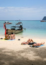 The tourist basking in the sun in phi phi island thailand is taken Stock Photos