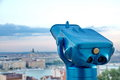 Tourist binoculars at budapest blue Stock Images