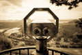 Tourist binoculars for sightseeing sepia Stock Photography