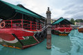 Tourist boat berths riverside in singapore cruise Stock Images