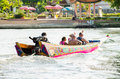 Tourist boat trips in the river kwai to see at kanchanaburi province thailand Stock Photography