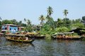 Tourist boats at kerala backwaters malabar coast india alleppey december an unidentified on december in alleppey it s a chain of Royalty Free Stock Image