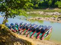 Tourist boats moored for Yaxchilan archaeological site, Chiapas, Mexico-Guatemala border Royalty Free Stock Photo