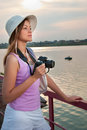 Tourist with a camera Royalty Free Stock Photo