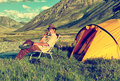 Tourist in camp Royalty Free Stock Photo
