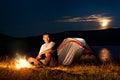 Tourist in a camp