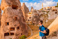 Tourist in Cappadocia Royalty Free Stock Photo
