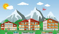 The tourist center in the alps vector illustration of mountains Stock Image