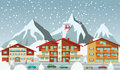 The tourist center in the alps winter vector illustration of mountains Stock Photography
