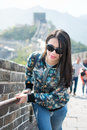 Tourist climbing the Great Wall of China Royalty Free Stock Photo