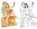 Tourist Couple Taking Their Self Portrait Vector Illustration Stock Photo