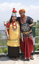 A tourist couple in traditional khasi attire posing at shillong view point meghalaya Stock Image