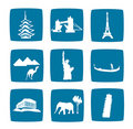Tourist destinations icons set Royalty Free Stock Photo
