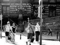 Tourist in europe black and white Stock Photos