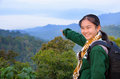 Tourist girl on the mountain in morning at panoen thung scenic point kaeng krachan national park phetchaburi province thailand Stock Image