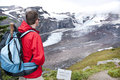 A tourist at glacier vista looking in mt rainier national park wa usa Stock Photography