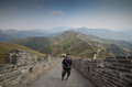 Tourist in Great Wall, China Royalty Free Stock Photo