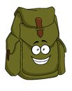 Tourist green canvas rucksack sturdy or backpack with a happy smiling face cartoon illustration Stock Photo