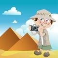 Tourist guy (pyramids) Royalty Free Stock Photo